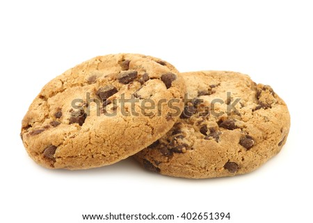 two crunchy chocolate chip cookies on a white background - stock photo