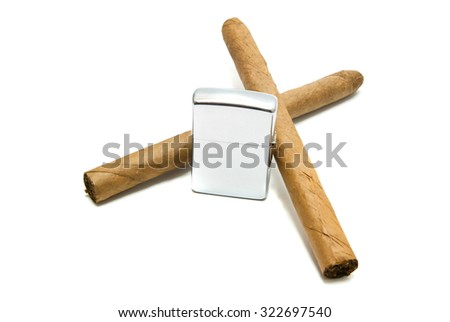 two Cuban cigars and lighter on white background closeup - stock photo