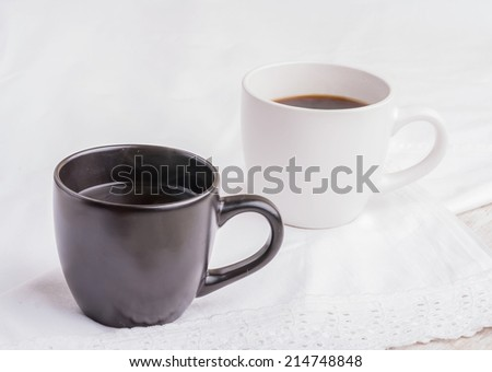 Two cup black coffee - stock photo