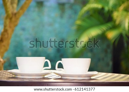 Two cup coffee on the table into the garden