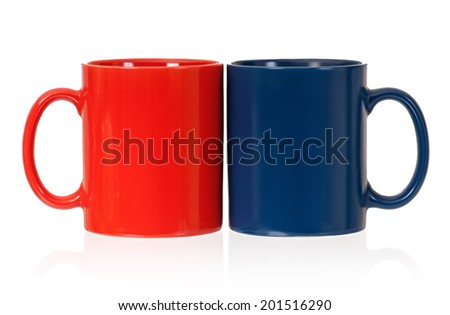 Two cups for tea or coffee, isolated on white background - stock photo