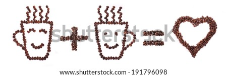 Two cups made of roasted coffee beans with heart shape - stock photo
