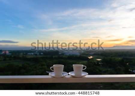 Two cups of coffee on a morning. - stock photo