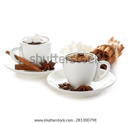 two cups of hot chocolate with cinnamon sticks isolated - stock photo
