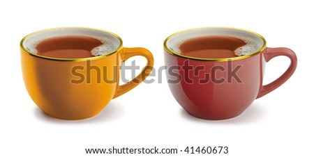 Two cups of tea - stock photo