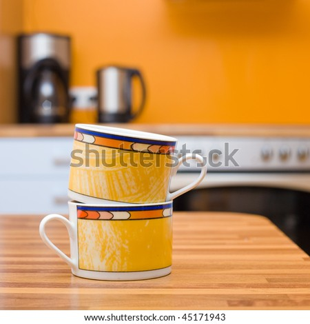 Two cups of tea close up shoot in the kitchen - stock photo