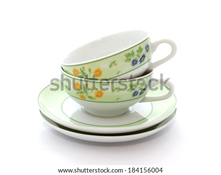 two cups on white background
