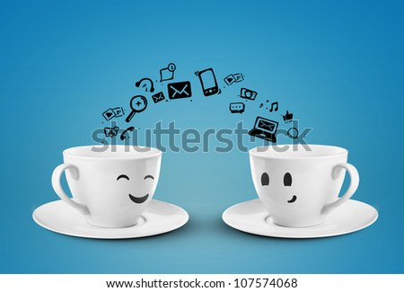 two cups social media concept. isolated - stock photo