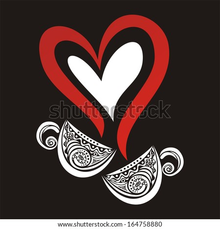 Two cups tea coffee pattern hear valentines day card illustration - stock photo