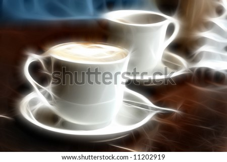 Two cups with coffee - stock photo
