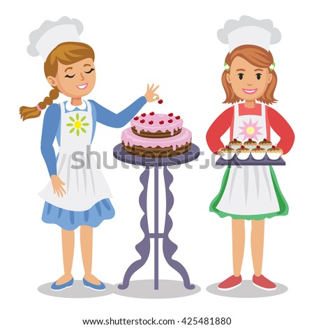 Two cute cartoon girl with pastry. Girl decorates a cake with cherries. Girl holding cupcakes. - stock photo