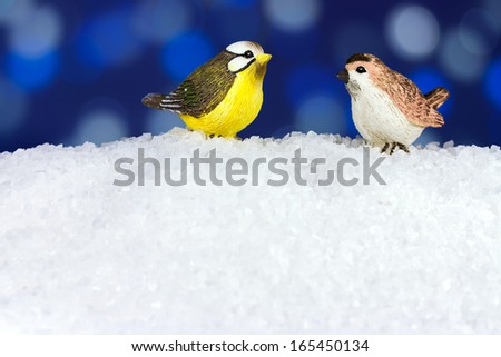 Two cute Christmas birds in winter time