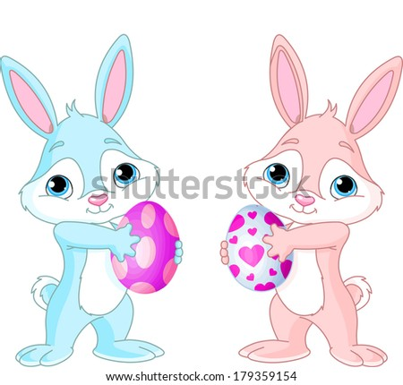 Two Cute Easter Bunnies  holding Easter Eggs. Raster version.   - stock photo