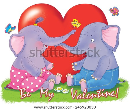 Two cute elephants, a big red heart and butterflies. Valentine's day. Greeting card  - stock photo