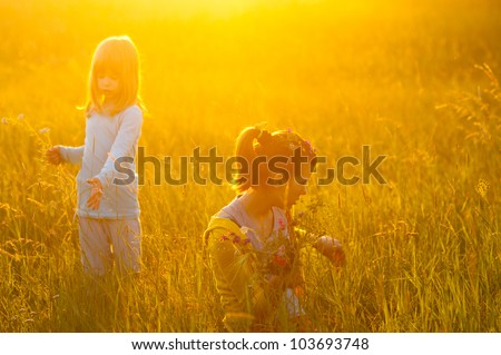 Two cute girls picking flowers on the meadow on sunny spring day. - stock photo