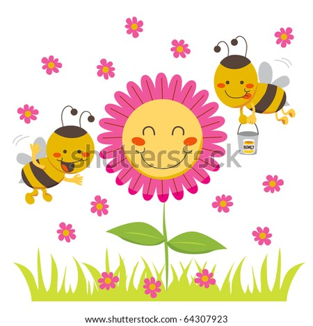 Two cute honey bees flying around a happy flower carrying a bucket. Raster version of vector illustration ID: 64144840