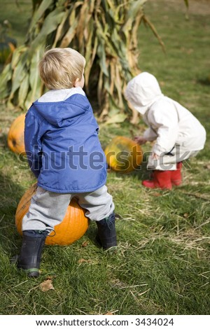 Two cute little boys selecting their pumpkins at the pumpkin patch - stock photo