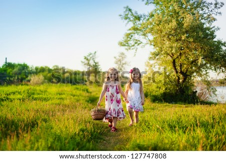Two cute little girls walking on the lawn - stock photo