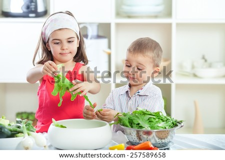 Two cute little siblings preparing salad in the kitchen - stock photo