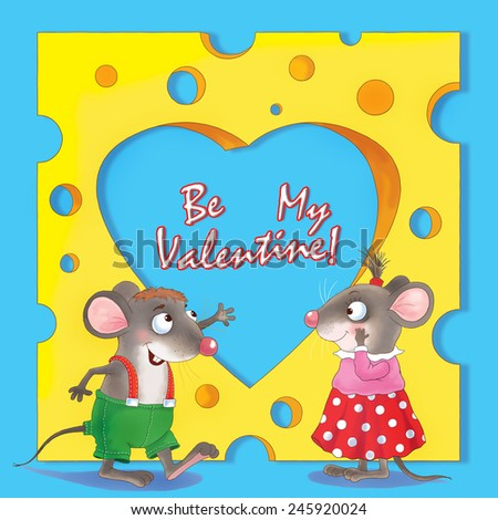 Two cute mice, and a huge piece of cheese with a heart-shaped hole. Valentine's day. Greeting card. Blue background  - stock photo