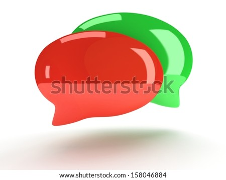 Two 3d blank speech bubbles isolated on white. Chat symbols, conference concept. Render - stock photo