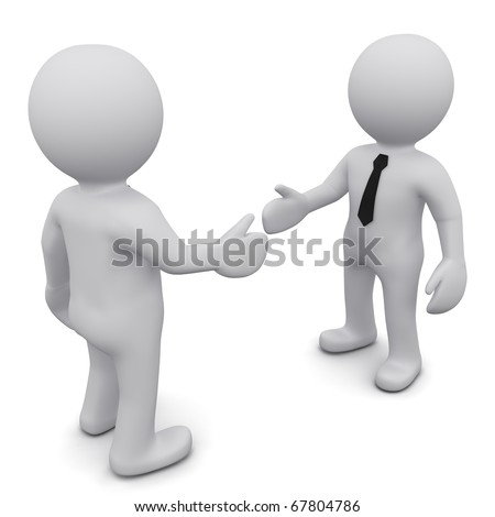 "Two 3D business man in ties shake hands on a white background. Series ""3D MAN"" - stock photo"