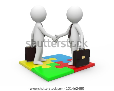 Two 3d businessman standing a puzzle, hands shaking