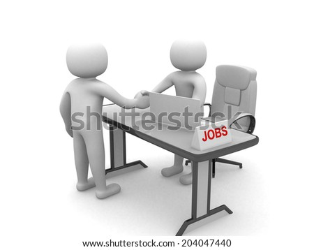 Two 3d businessmen shake hands in an office - JOBS - stock photo