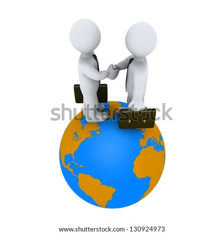 Two 3d businessmen shake hands on top of the globe