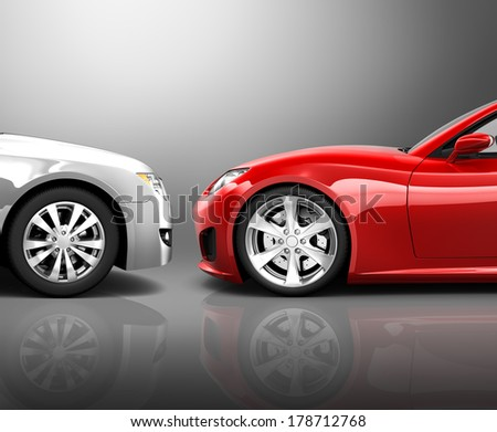 Two 3D Cars in Frontal Crash - stock photo