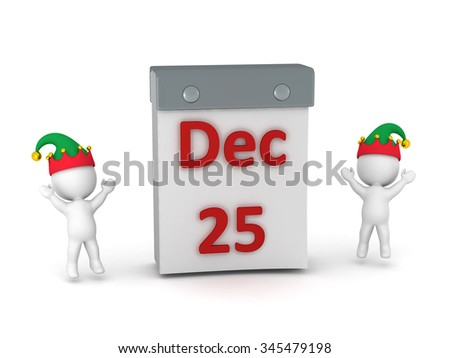 Two 3D characters with elf hats cheering around a large tare-off calendar showing December 25. Isolated on white background.