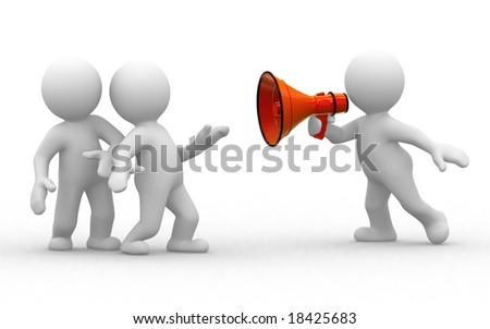 two 3d humans look at human with megaphone - stock photo
