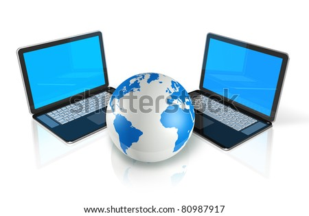 two 3D laptop computers around a world globe isolated on white - stock photo