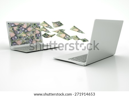 two 3D laptops transferring Bahrain money banknotes