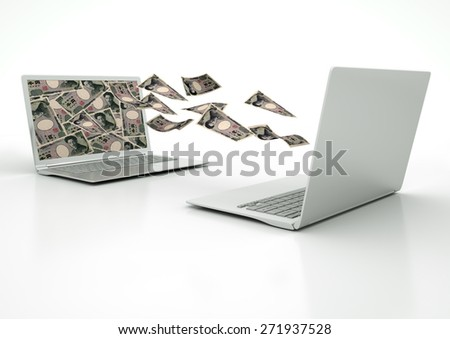 two 3D laptops transferring Japan money banknotes isolated on white background