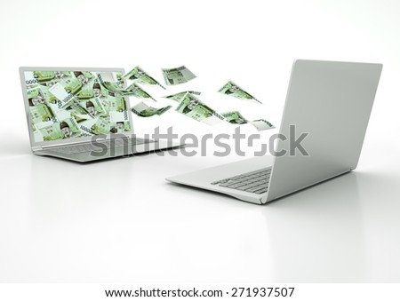 two 3D laptops transferring South Korea money banknotes isolated on white background