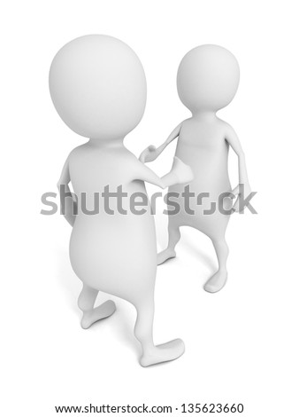 Two 3D man in ties shake hands on a white background - stock photo