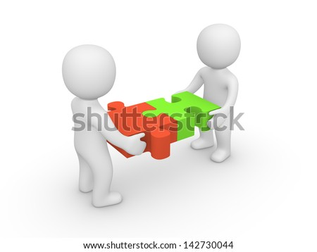 Two 3d man joining together puzzle pieces. - stock photo
