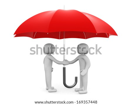 Two 3d man - people shaking hands under a red umbrella. Leadership - stock photo