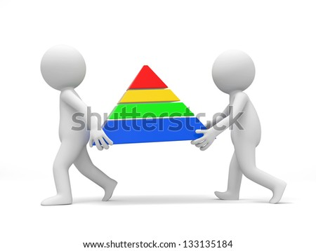 Two 3d men carrying a pyramid model - stock photo