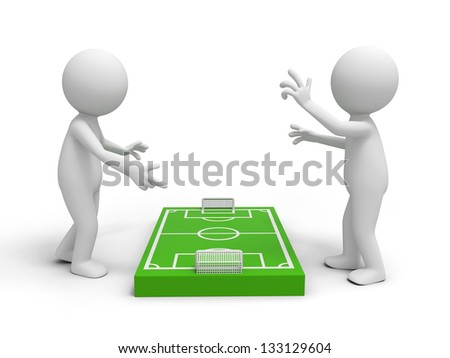 Two 3d men discussing at a football field model - stock photo