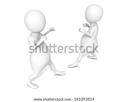 Two 3D men in fighting position isolated on white backgrund. 3d render illustration - stock photo