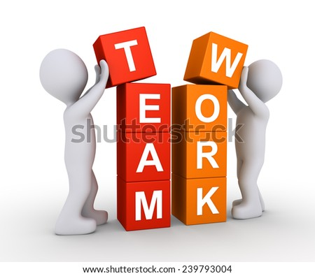 Two 3d people are forming the word TEAMWORK using cubes - stock photo
