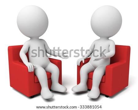 Two 3d people are having a discussion - stock photo