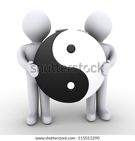 Two 3d people are holding a yin and yang symbol - stock photo