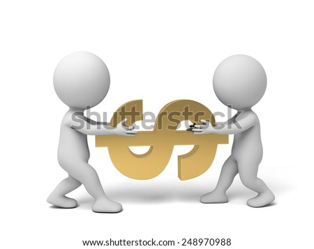 Two 3d people fight for money. 3d image. Isolated white background - stock photo