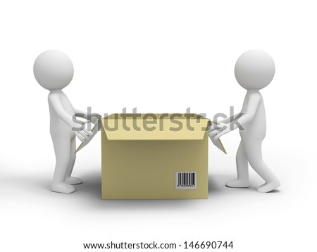 Two 3d people pushing a package box - stock photo