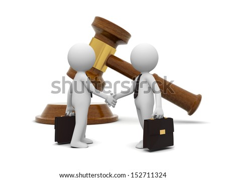 Two 3d people shaking hands , a gavel background - stock photo