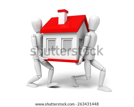 two 3d people standing with new house. 3d image. Isolated white background - stock photo