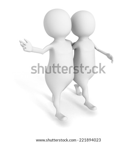 two 3d person walk on white background. 3d render illustration